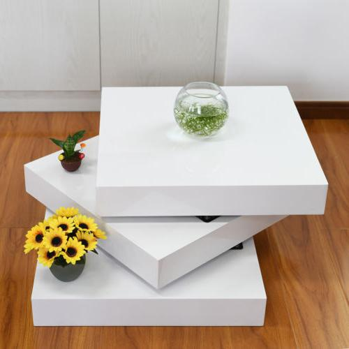 3 layer modern rotating coffee table square