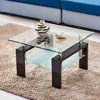 8mm Tempered Glass Top Square Coffee Table Black MDF Legs Un