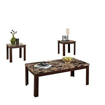 Acme Furniture ACME Finely Light Brown Faux Marble Coffee En