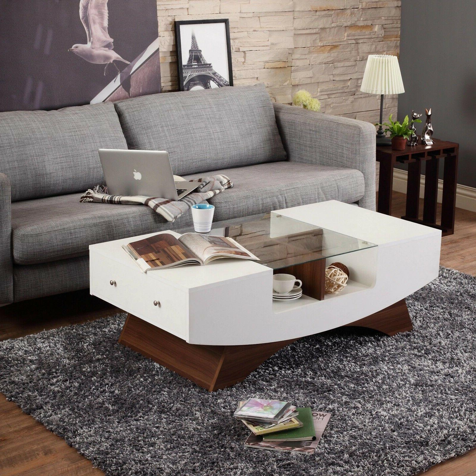 Coffee Table Glass 2 Drawer White Storage Console Living Roo