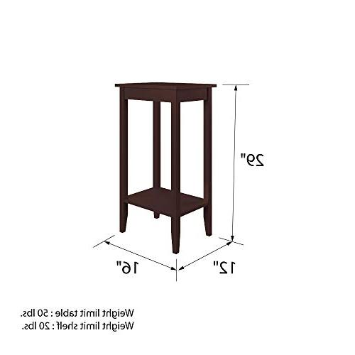 DHP Rosewood Tall End Small Space Table, Medium Coffee