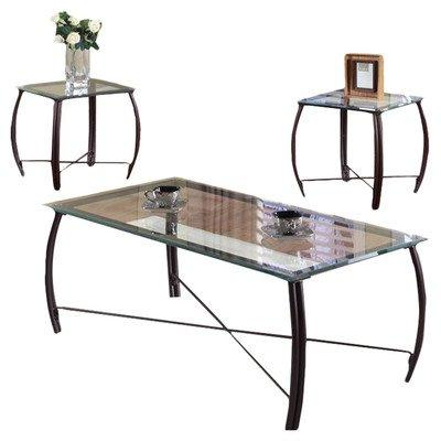 K & B Furniture T202 3 Piece Cocktail and End Table Set Copp