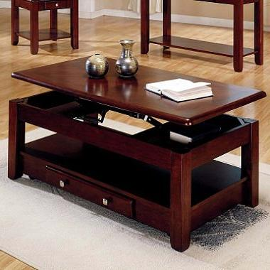 Lift-top Coffee Table in Cherry Finish with Storage Drawers