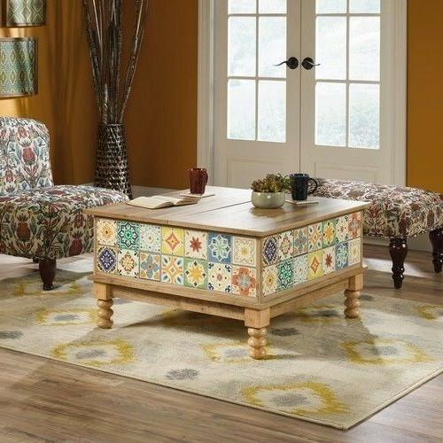 Sauder Viabella Graphic Lift-Top Storage Coffee Table, Antig