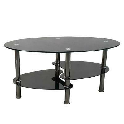 Tempered Clear/Black Glass Oval Side Coffee Table Chrome Room