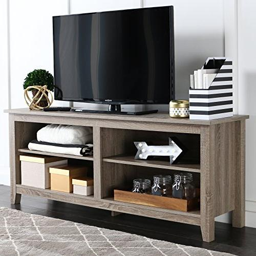 WE Furniture TV Stand Storage Console, Driftwood