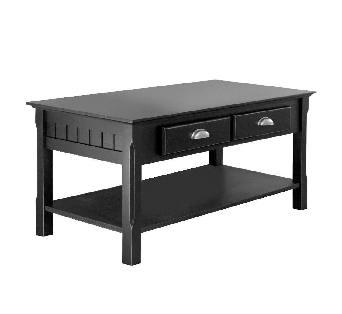 Winsome Wood Timber Coffee Table with Two Drawers, Black Fin