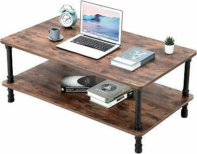 Accent Industrial Table End With Storage Shelf Room