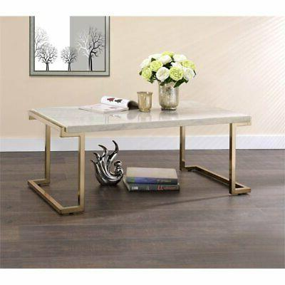 acme furniture 82870 boice coffee table faux marble champagn