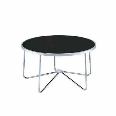 alivia coffee table in chrome and black