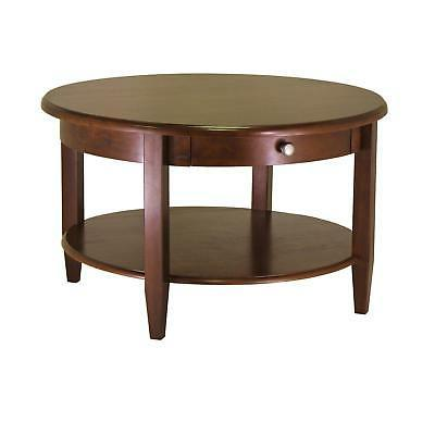 Antique Walnut Finish Round Coffee Table w/Drawer