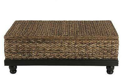 arbor brown abaca textured coffee table 47x30x18