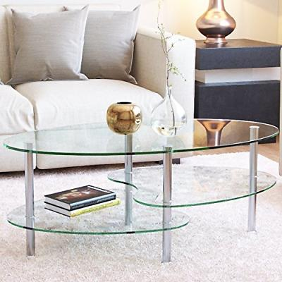 ashley 38 inch oval two tier glass