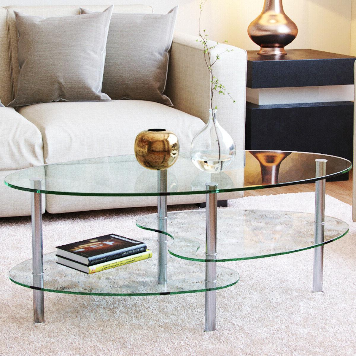 ashley 38 oval two tier clear glass