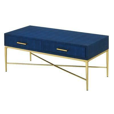 Convenience Concepts Table in Blue Faux Leather/Gold Wood