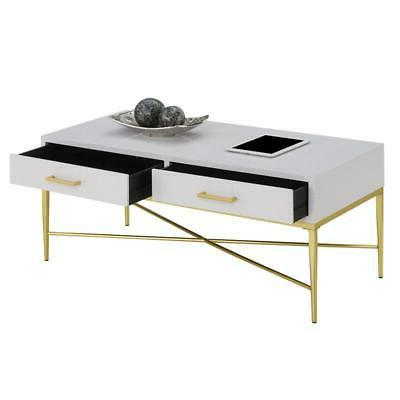 Convenience Concepts Table in White Scallop/Gold