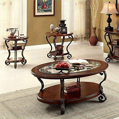Furniture of America Azea 2 Piece Coffee Table Set in Brown