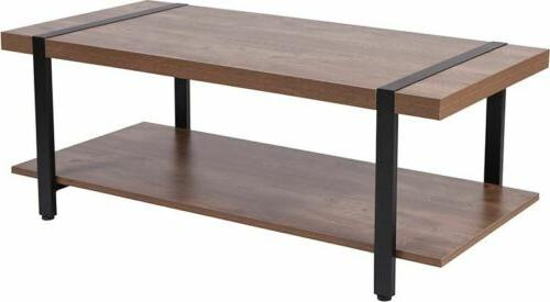 Beacon Hill Rustic Wood Grain Finish Coffee Table with Black