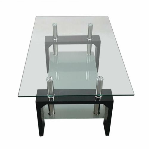 Black Table Rectangular Living Home Glass Wooden