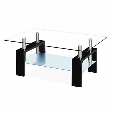 New Rectangular Glass Coffee Table w/Shelf Living Furniture