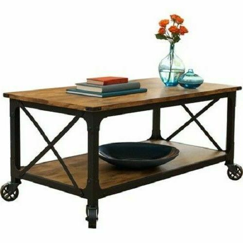Black Coffee Table Wood Top Living Room Vintage End Furnitur