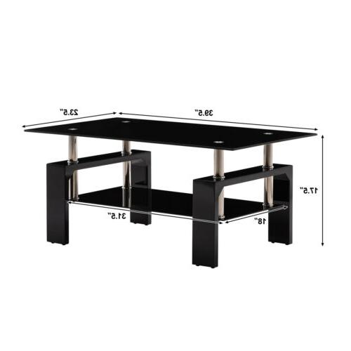Black Glass Table End Side Table w/Shelf
