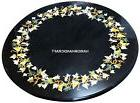 Black Marble Coffee Table Mosaic Inlay Marquetry Patio Exclu