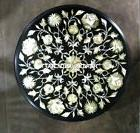 Black Marble Coffee Table Top Abalone Marquetry Patio Semi R
