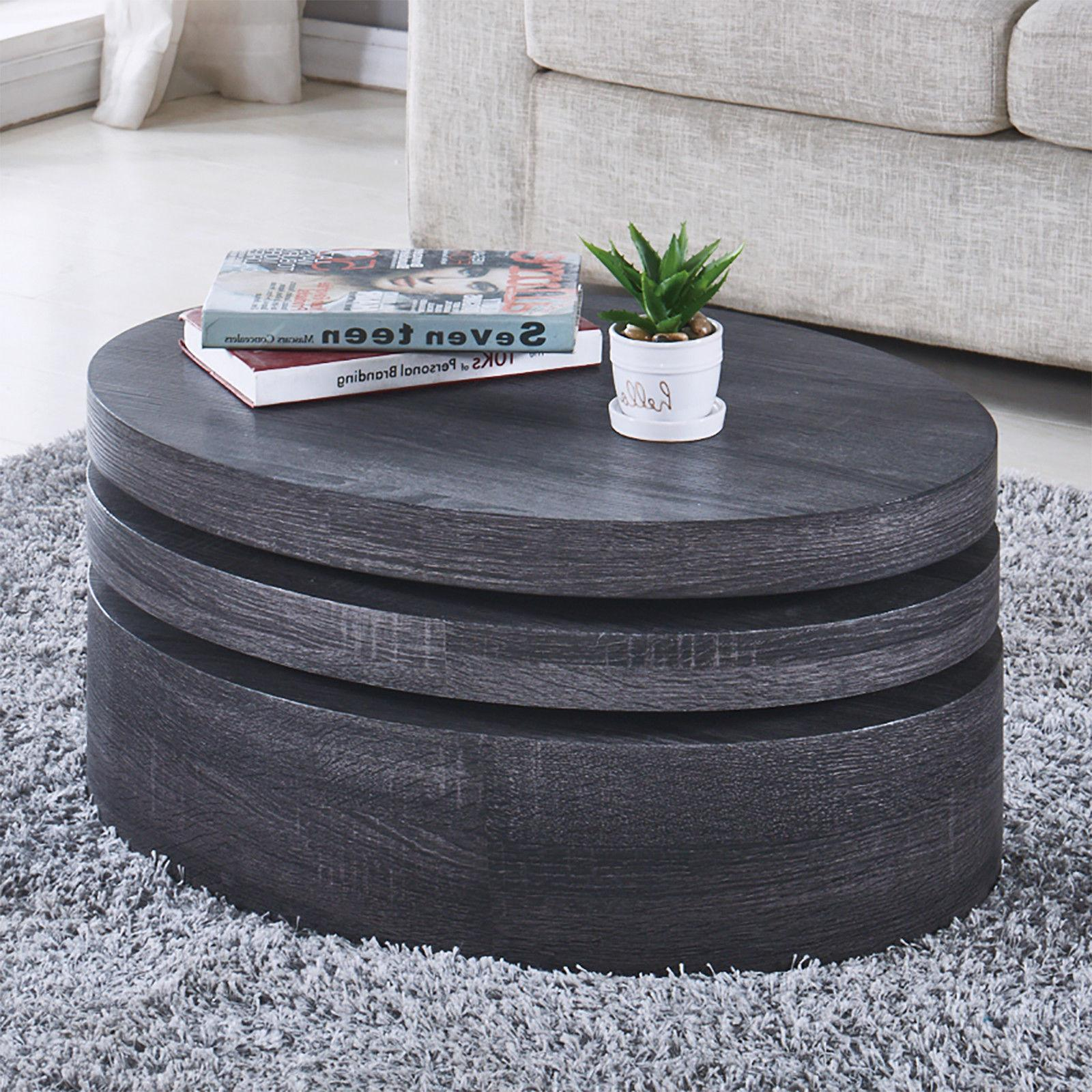 Black Round Table Rotating Contemporary Modern Living Room Furniture