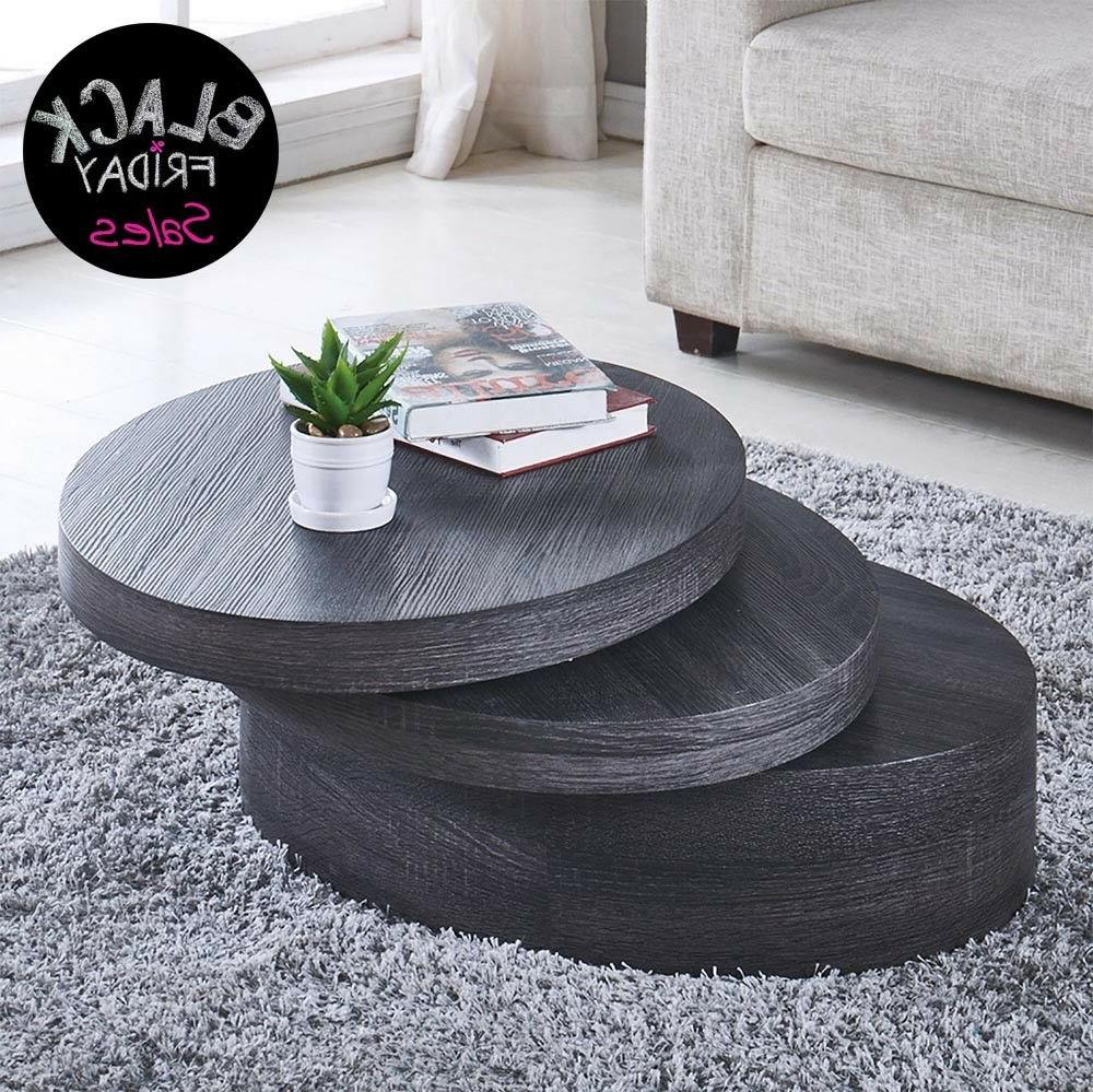 black oak round coffee table rotating contemporary