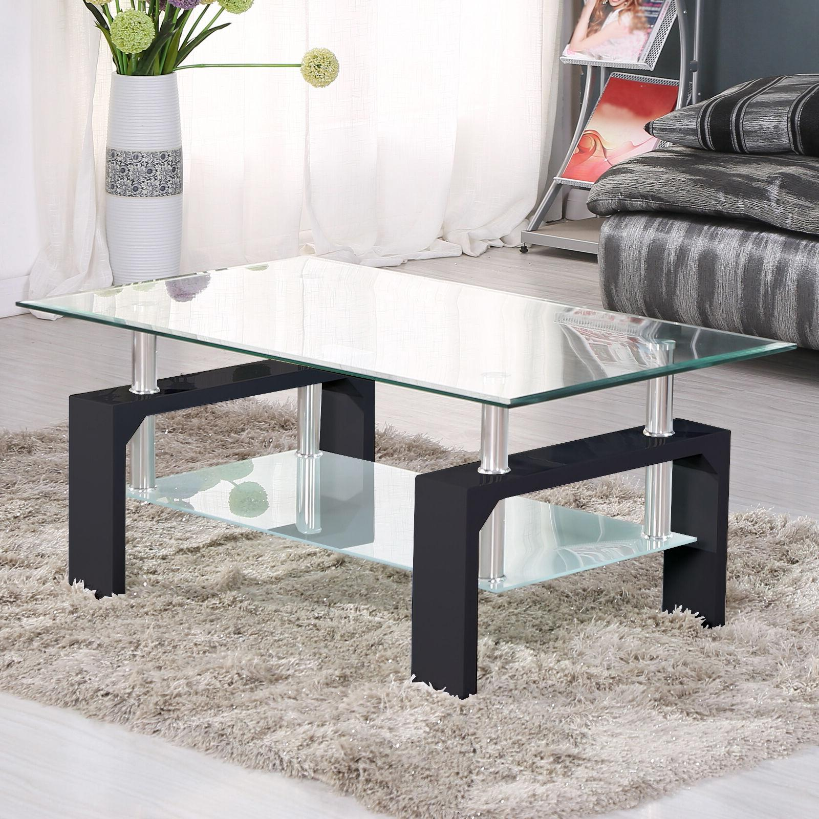 Glass Coffee Table Set Rectangular Wood Chrome Living Room F