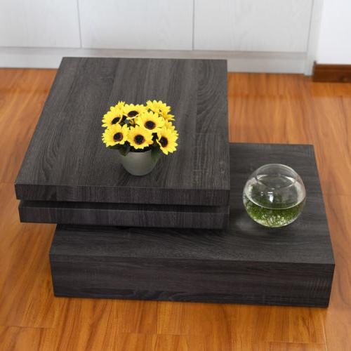 Modern Sofa Side Table 3 Layers Square Room