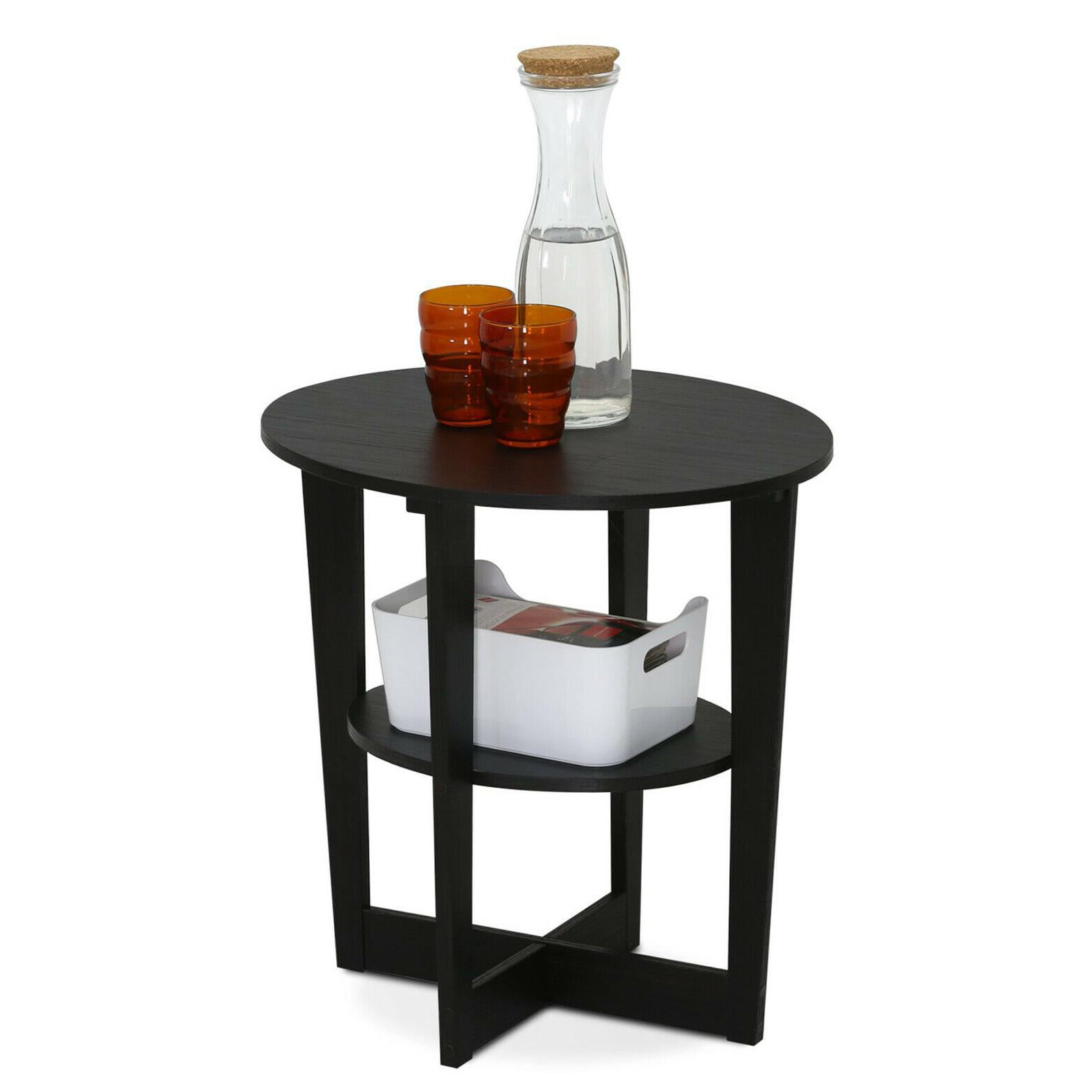 Black Walnut End Table Wedge Oval Night Stand Round Wooden