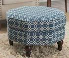 Blue And White Ottoman For Living Room Geometric Footstool C