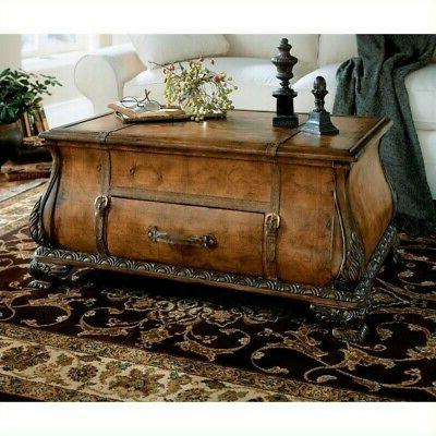 bombe trunk coffee table in light brown