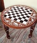 Chess Board Elephant Carved Inlaid Work Coffee Round Table R