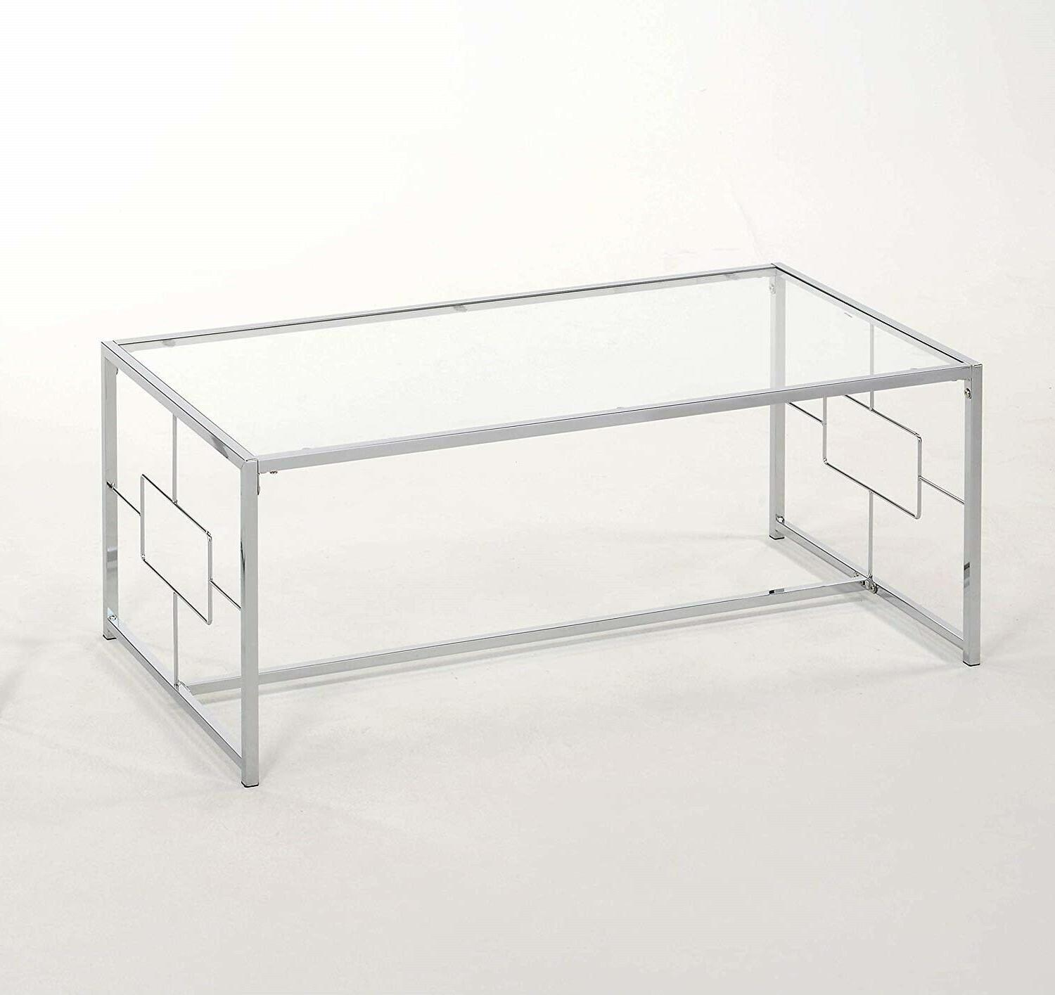 1PerfectChoice Chrome Coffee Table with Glass Table Top
