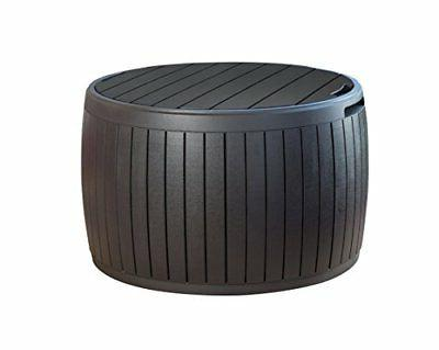 Keter 37 Gallon Circa Natural Wood Style Round Outdoor Stora