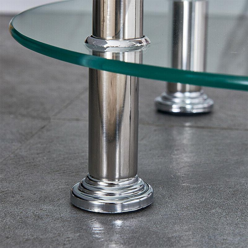 Clear Side Table End Top Chrome Sofa Laptop