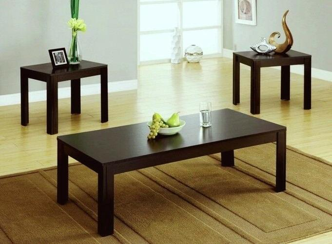 Coffee Table 2 End Tables Side 3 Piece Set Modern Espresso F