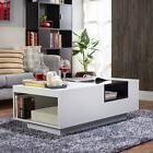 Coffee Table With Storage Shelf Glass Top Modern White Cockt