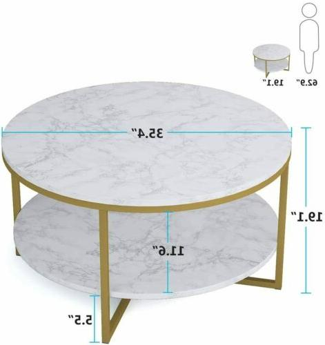 Modern Round Coffee Accent Table with Faux Marble Tabletop G