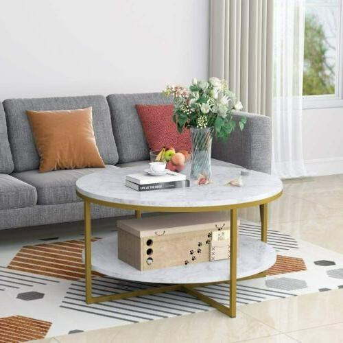 Round Sofa Table,White Easy Assembly Modern Style Coffee Tab