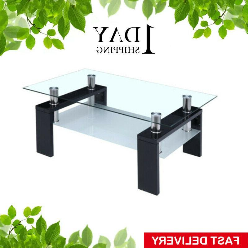 Black Coffee Table Glass Modern Shelf Wood Living Room Furni