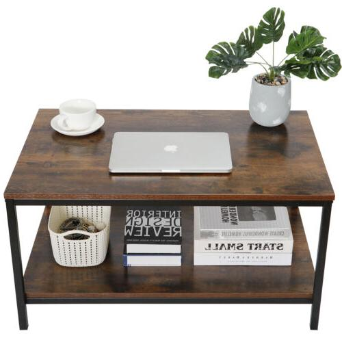 Coffee Table Vintage Cocktail Table with Storage Shelf for