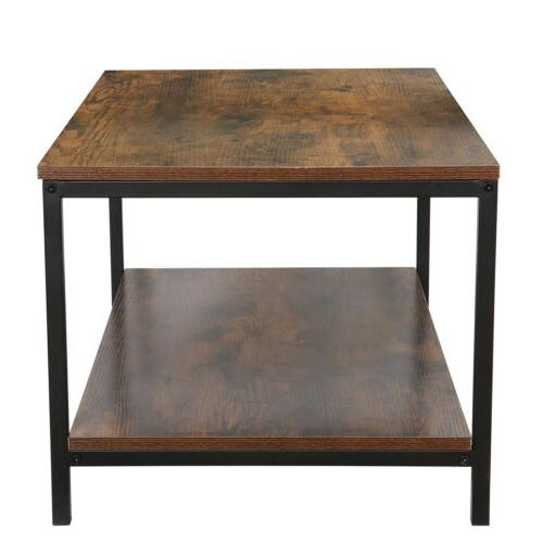 Coffee Table Industrial Cocktail Table Shelf