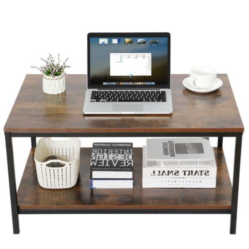 Coffee Table Cocktail with Shelf for Livingroom