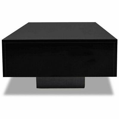 "vidaXL Coffee Table MDF High Black 33.5"" Accent Side Room"