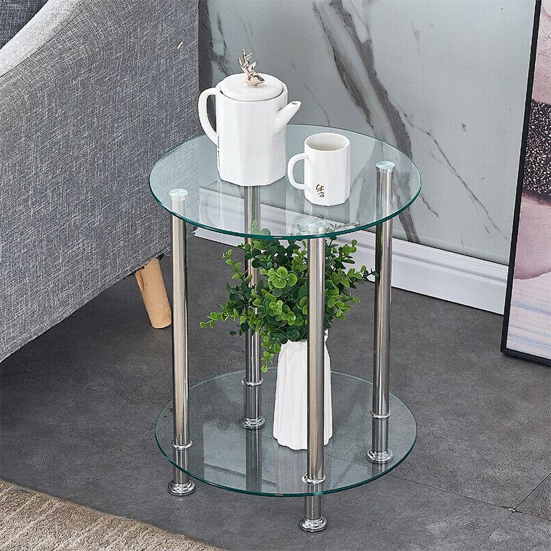 Clear Side Table End Table Glass Top Chrome Legs Laptop