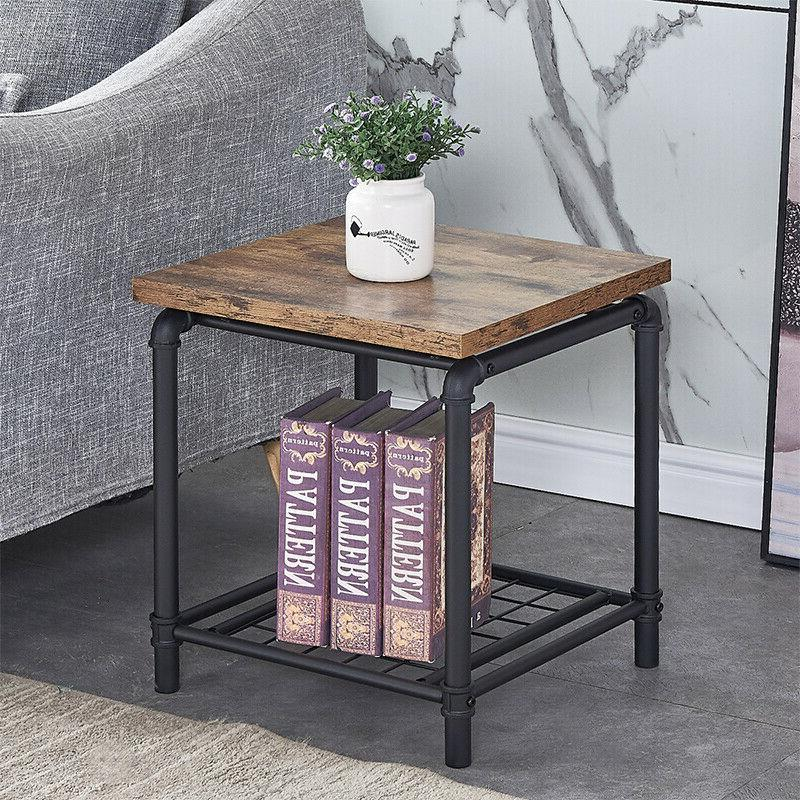 Industrial square Tea Coffee Table With Storage Shelf Living